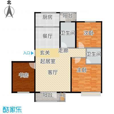 浪琴湾103.89㎡三室二厅一卫户型