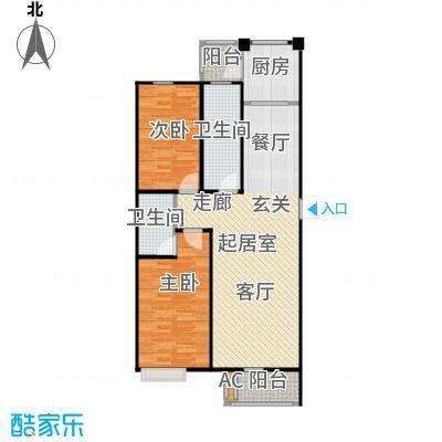浪琴湾68.81㎡二室二厅一卫户型