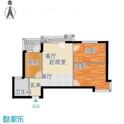 万棵树85.00㎡两厅两室一卫85平米户型2室2厅1卫