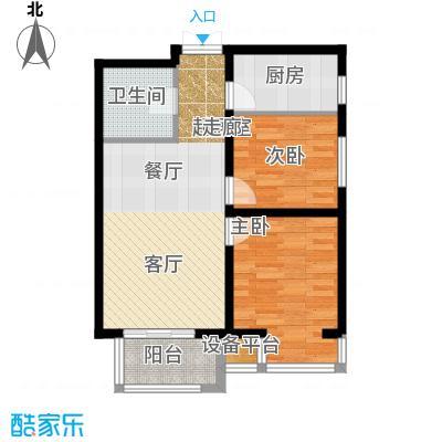 燕京航城80.00㎡Y1反户型 两室两厅一卫户型2室2厅1卫