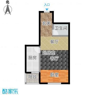 香港豪庭55.13㎡A座D一居室户型