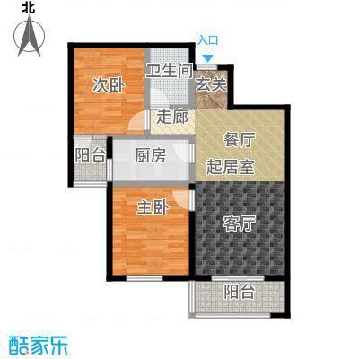 香港豪庭83.01㎡A座B两室两厅一卫户型