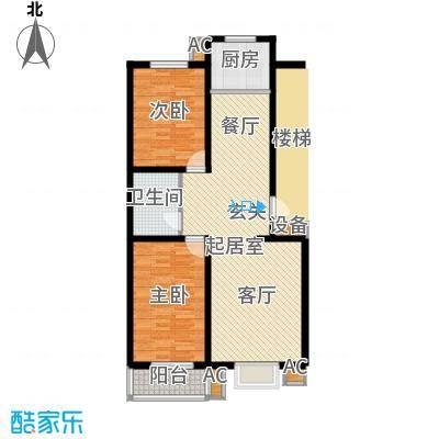 富景华庭89.96㎡D户型两室两厅一卫户型