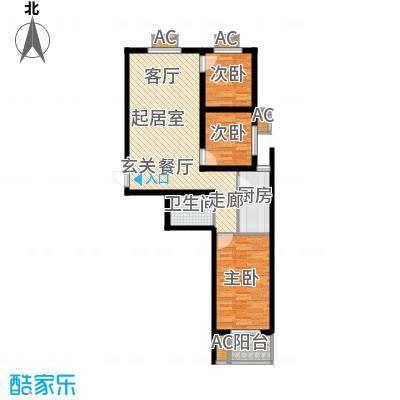 富景华庭3#楼B户型三室一厅一卫户型
