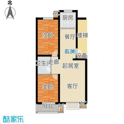 富景华庭89.44㎡A户型两室两厅一卫户型