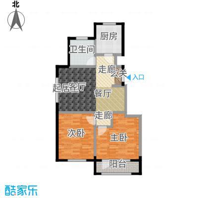 百合花园85.00㎡D户型 2室1厅1卫1厨户型
