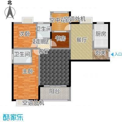 易景凯旋城121.15㎡1单元户型图 三房两厅两卫 建筑面积:121.15㎡-122.36㎡户型3室2厅2卫
