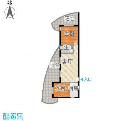 东方・龙湾100.81㎡六号楼B1户型2室2厅1卫 100.81平米户型2室2厅1卫