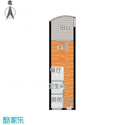 东方・龙湾62.60㎡七号楼A2户型1室1卫 62.6平米户型1室1卫