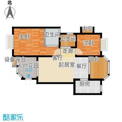 开维生态城84.70㎡E1户型两房两厅两卫户型2室2厅2卫