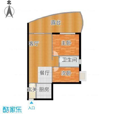 东方・龙湾101.89㎡八号楼A3户型2室2厅1卫 101.89平米户型2室2厅1卫