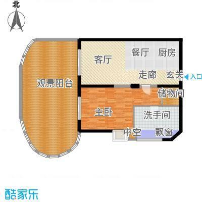 平海・逸龙湾84.00㎡9J型一房两厅户型1室2厅1卫