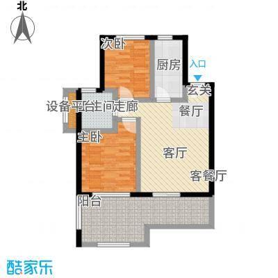 山泉海75.92㎡B1-2户型 2室1厅1厨1卫户型1室1厅1卫