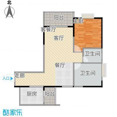 南海佳园71.72㎡B户型图 两室两厅户型2室2厅1卫
