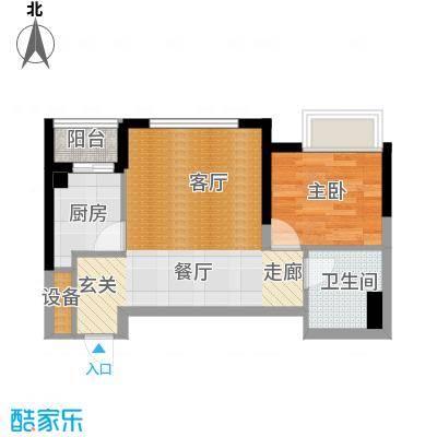 御景龙庭54.65㎡A3户型1室2厅1卫