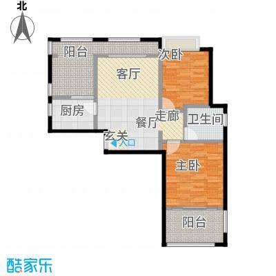 泉倾天下91.00㎡B3户型两房两厅一厨一卫户型2室2厅1卫
