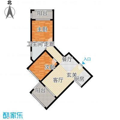 泉倾天下86.04㎡6号楼07户型 两房两厅一厨一卫户型2室2厅1卫