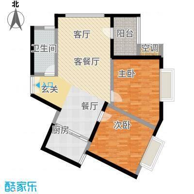 龙腾随园C-3C户型 两房两厅一厨一卫户型2室2厅1卫