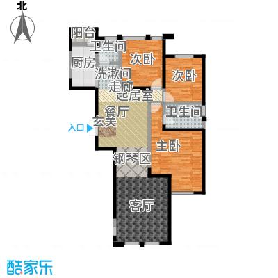 盛达金盘142.00㎡1#、5#楼D单元01三室两厅两卫户型