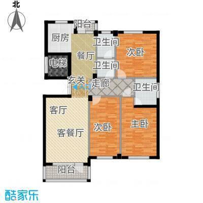 富士庄园三期126.94㎡三房二厅二卫户型