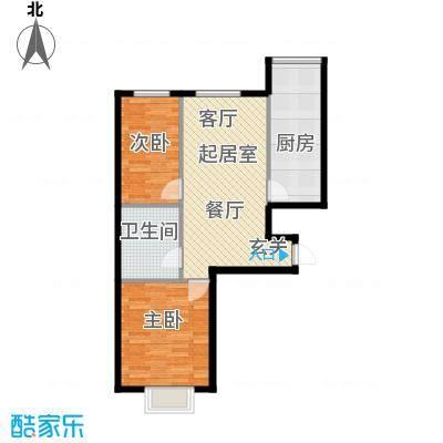 富景华庭84.06㎡二室一厅一卫户型2室1厅1卫