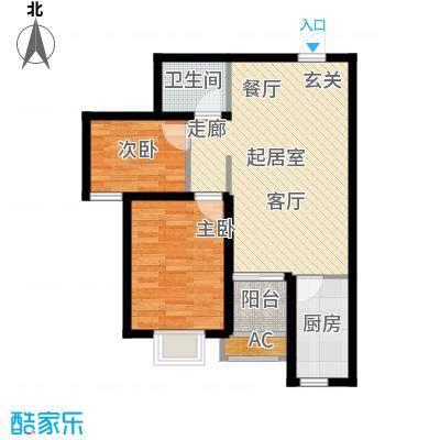 富景华庭3#楼C户型二室一厅一卫户型