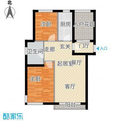 亚联翡翠春城2室1厅1卫约80平米户型图户型QQ