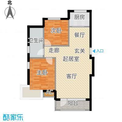 亚联翡翠春城2室1厅1卫约85平米户型图户型QQ
