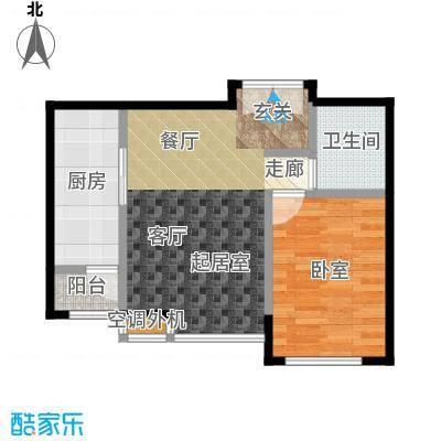 桐城国际65.00㎡E2-F单元02一室二厅一卫户型