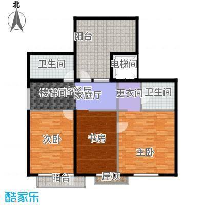 泊逸台泊逸台面积105-110平米(上跃)三室一厅两卫户型图户型3室1厅2卫