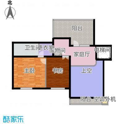 泊逸台泊逸台面积107-108平米(上跃)两室一厅一卫户型图户型2室1厅1卫