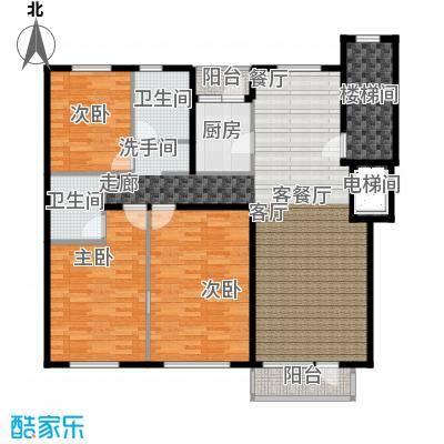 泊逸台三室两厅两卫124-129平户型
