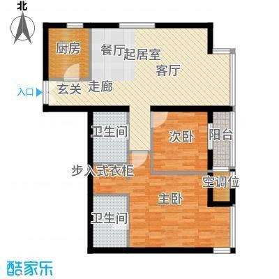 华彩国际公寓2JB3户型二室二厅二卫户型2室2厅2卫