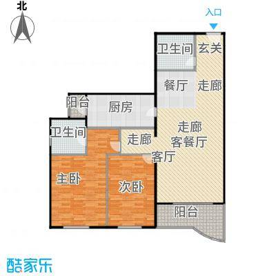 天创世缘126.48㎡二室二厅一卫户型