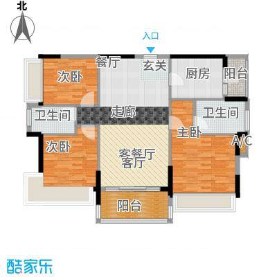 万好美域98.97㎡1栋3栋03户型3室2厅2卫X