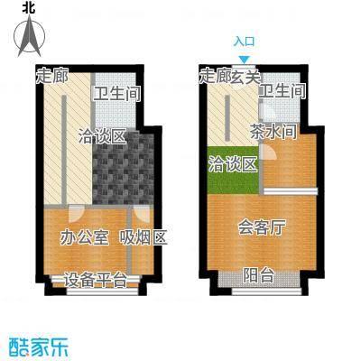 中海八里�57.00㎡SOHO C户型1室2厅2卫