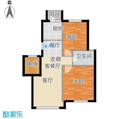鼎盛佳苑80.00㎡2室2厅1卫户型