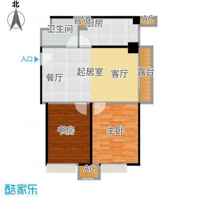 东方郁金香84.29㎡A-15户型两室两厅一卫户型