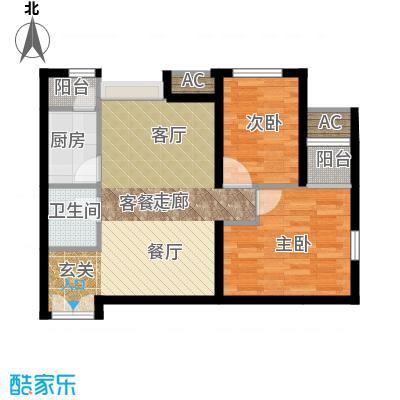 东亚望京中心A2a1户型二居户型