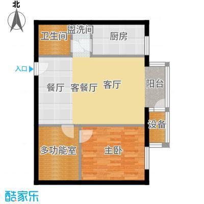 国际E庄65.00㎡F户型一室一厅一卫户型