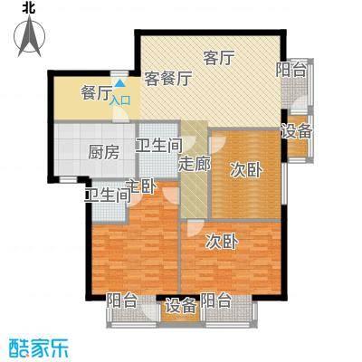 国际E庄117.00㎡J户型三室二厅一卫户型