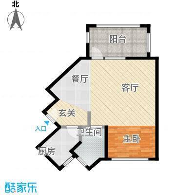 泉倾天下73.09㎡5号楼02户型 一房两厅一厨一卫户型1室2厅1卫