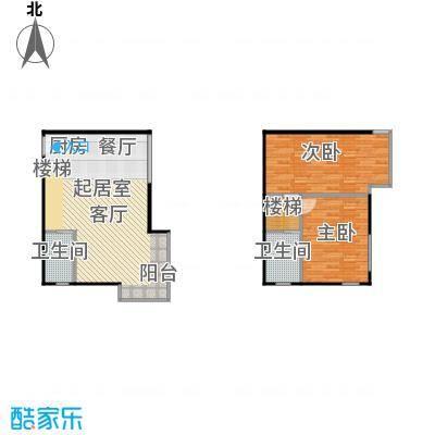 红庭二室一厅二卫户型