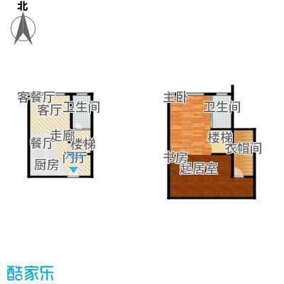 红庭一室一厅两卫户型