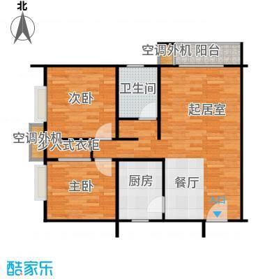 雍景山岚91.13㎡13楼A户型二室二厅一卫户型