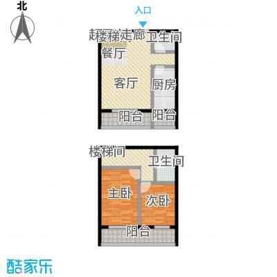 矩阵・天悦89.17㎡15号楼四单元B户型跃层两室户型