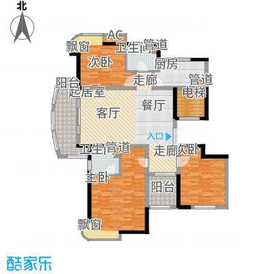 水岸帝景130.00㎡风尚雍容三房户型3室2厅2卫
