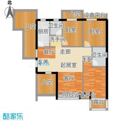 华夏第九园・兰亭105.26㎡雅舍C反奇数层3室2厅2卫1厨户型3室2厅2卫