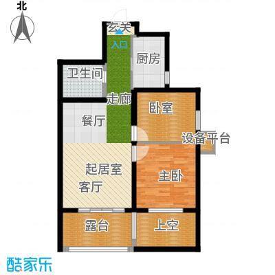 华夏第九园・兰亭82.06㎡A反偶数层2室2厅1卫1厨户型2室2厅1卫