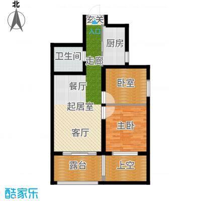 华夏第九园・兰亭82.00㎡2室2厅1卫1厨户型2室2厅1卫